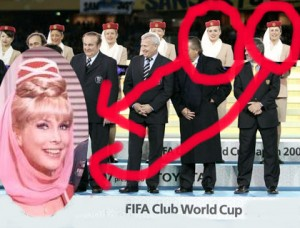 "photo of women at the world cup wearing ""I Dream of Jeannie"" headdresses, with photo of Barbara Eden as Jeannie"